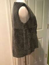 NWOT DROMe Italy gray shearling suede high low hem sleeveless vest jacket coat S