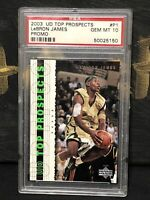 💦 2003 UD Top Prospects Lebron James P1 Rookie Card PSA 10 Cavaliers Lakers 💦