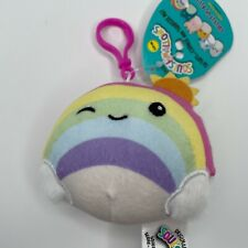"""SQUISHMALLOWS 'SUNSHINE THE RAINBOW' 3.5"""" INCH CLIP-ON STUFFED PLUSH TOY NEW"""
