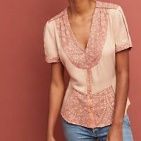 Anthropologie Tiny Talia Peach Lace Trim Short Sleeve Button Down Blouse Small