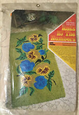 New listing Vintage Columbia-Minerva Rugs by The Numbers 4808 Pansies 27x50 Wall Hanging