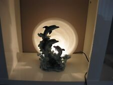 murano glass and resin leaping dolphins table light very unusaul
