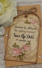 SAVE THE DATE MAGNETIC TAGS / Cards / Vintage Rose (with Envelopes) x 50