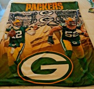 Green Bay Packers Throw Lap Blanket  Aaron Rodgers Clay Matthews