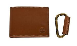 Timberland Mens Leather Bifold Wallet with Leather Wrapped Key FOB