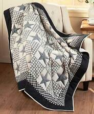 Black Barn Star Quilted Throw Blanket Checked Pattern Primitive Country Home