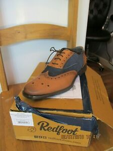 Redfoot Tan & Navy Leather/Suede Mens Gatsby Shoe UK 8/Euro 42 RRP £89.99