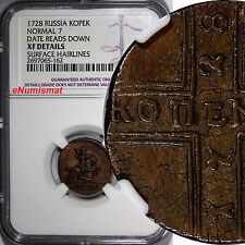 Russia PETER II Copper 1728 1 Kopek NGC XF DET. MOSCOW St. George RARE KM# 185.1