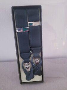 New MIB Trafalgar Black Silk Suspenders with Embossed Silver Hardware