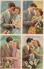 Lot 4 cartes postales ancien FANTAISIES AMOUREUX LOVER AMANTES LOVERS ЛЮБИТЕЛ 4