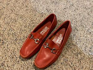 Womens Salvatore Ferragamo Gancini Bit Red Loafers Size: 8B