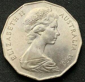 1970 Australia 50 Cents BU  Coin   Copper nickel ( 200 Yr Cook's Voyage )  #B240