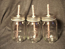 Trio of Country Style Glass Mason Jar Drink Cups with Plastic Straws New