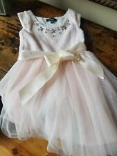 girls size 5 light pink and cream dress with jewels gently worn $15