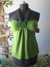 Heart Soul Green Beaded Halter Top Blouse Cami SZ L NWT