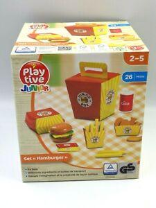 Set Kitchen Play Tive Junior Set Hamburger Toy Wood New Rare