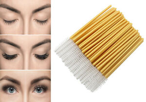 Gold Mascara Wands White Disposable Eyelash Extension Applicator Spooler Brush