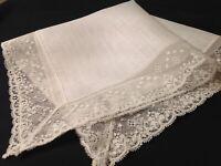 #5419🌟Vintage Wide French Lace Linen Wedding Handkerchief Heirloom Keepsake