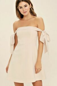 Keepsake Another World Bustier Nude pink Strapless Off Shoulder Bow Mini Dress
