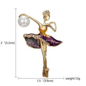 Fashion Flower Dancing Girl Crystal Pearl Brooch Pin Women Wedding Jewelry Gift