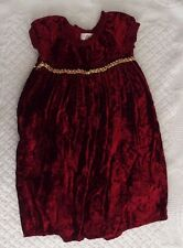 Baby Lulu 3T girls Cranberry Velour Dress gold accent gorgeous boutique flaw