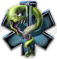 "EMS Snake Medical Paramedic Ambulance Nurse Car Bumper Vinyl Sticker Decal 4.6""."