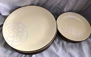 ABBEY HILL LOT OF 8 DINNER PLATES 4 SALAD PLATES (12 Total) YELLOW DISCONTINUED