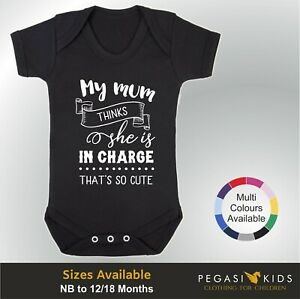 Baby Grow - Mum Thinks In Charge Gift Christening Shower Present Vest Boy Girl