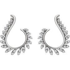 1ct Round Cut VVS1 Diamond Leaf Design Drop Earrings Women 14k White Gold Finish