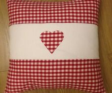 """New HandMade Vintage Red ❤️ Gingham Heart Aplique Scatter Cushion Cover 16"""""""