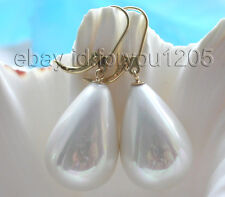 Natural 25mm White Drip Shell Pearl Earrings Dangle 14K