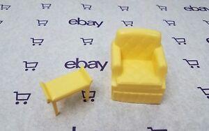 VTG Marx Mansion Dollhouse Furniture Bedroom LOT Chair Vanity Bench lemon yellow