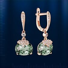 Russian solid rose gold 585/14k green amethyst and CZ dangle earrings Beautiful
