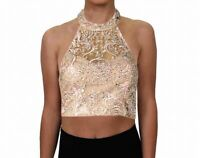 Say Yes To The Prom Blouse Pink Size 3 Juniors Halter Sequin Embroider $108- 663