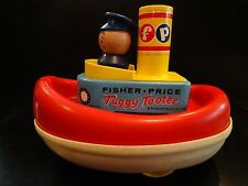 Vintage Fisher Price 1967 Tuggy Tooter Made In USA Floating Tug Boat Pull Toy