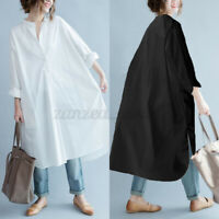 ZANZEA Womens V Neck Casual Loose Long Sleeve Long Tops Blouse Shirt Dress Plus