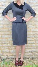 Vintage 40s 50s Stunning Grey Velvet Worsted Wool Bombshell Dress 12