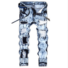 US Mens Extreme Ripped Frayed Distressed Pants Denim Washed Jeans Straight Leg