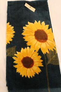 Fall  Autumn Sonoma Green & Yellow Sunflower Velour Kitchen or Hand Towel