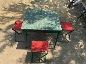 Rare 1950's VINTAGE COLEMAN CAMPING Compact Folding Table 4 Chairs Stools