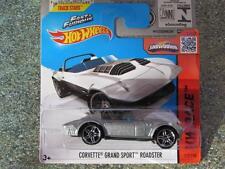 Hot Wheels 2015 # 179/250 Corvette Grand Sport Roadster Plata nueva fundición Funda F