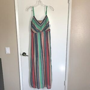 Ruby Rox Junior's Size 7 Maxi Dress Lined Summer Striped Colorful Rainbow Sheer