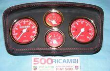 FIAT 500 F/L/R CRUSCOTTO MOD F/R SPORTIVO PELLE PLANCIA 4 STRUMENTI ABARTH ROSSI