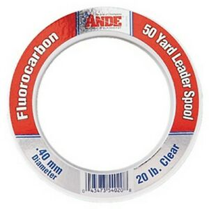 Ande FCW20 Fluorocarbon 20# 50yd Saltwater Fishing Line Leader Spool