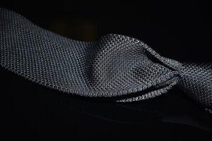 NWT #1 MENSWEAR Brooks Brothers Solid Smoke Grey Slinky Knit Crochet Silk Tie NR