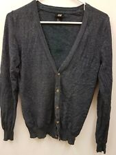 H&M Turquoise blue v neck short Knitted cardigan Cardi Button Down Size XS