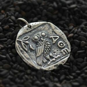 Mens Necklace Ancient Coin Charm Owl Athena Sterling Silver Greek Replica 886