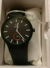 Obaku Men's  Quartz Watch Harmony Black Dial with Leather Strap V103GBBR-S