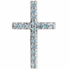 Genuine Swiss Blue Topaz Petite Cross Pendant In Platinum