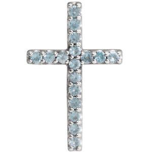 Genuine Swiss Blue Topaz Petite Cross Pendant In Platinum